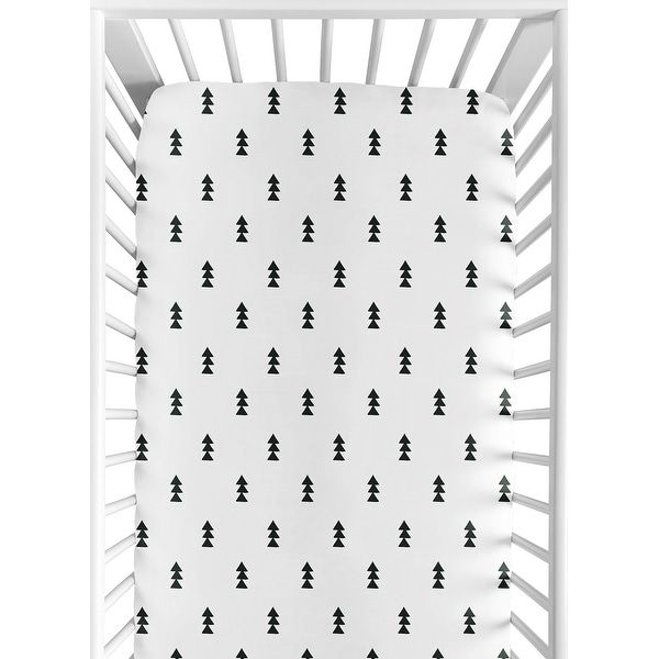 Sweet Jojo Designs Black and White Triangle Tree Print Fitted Crib Sheet for the Bear Mountain Collection. Opens flyout.