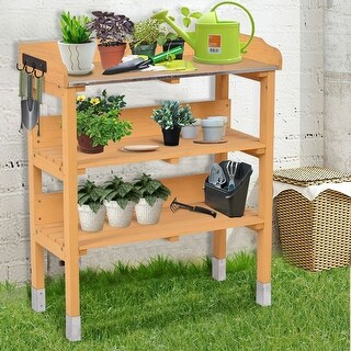 Costway 3 Tier Wooden Potting Bench Garden Planting Workstation Shelves W/3 Hooks