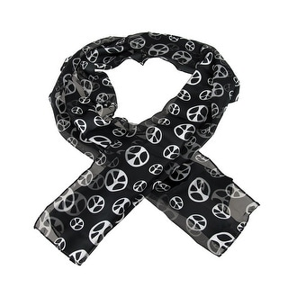 Lightweight Black & White Peace Sign Neck Scarf