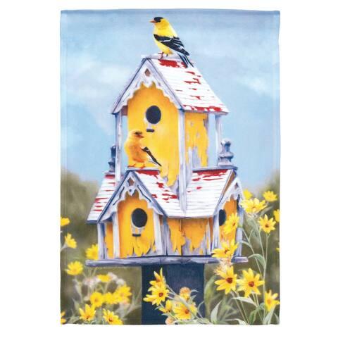 "Yellow and Blue Bird House Design Rectangular Garden Flag 18"" x 13"""