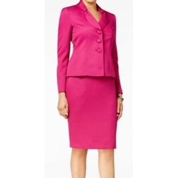 Shop Le Suit New Fuchsia Pink Womens 14 Textured Three Button Skirt