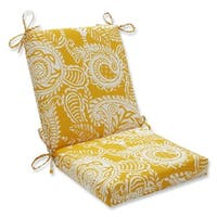"""36.5"""" Mustard Paisley Swirl Outdoor Patio Chair Cushion with Ties - White"""