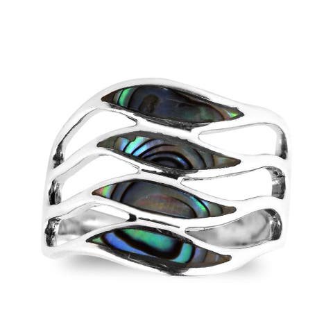 Handmade Amazing Waves Stone Myriad Sterling Silver Ring (Thailand)