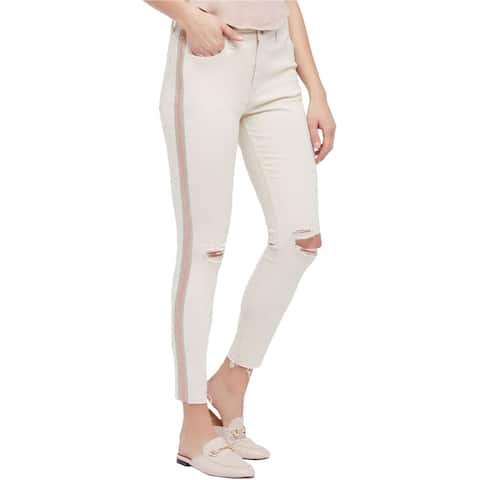 Free People Womens Glittery Skinny Fit Jeans, Off-white, 24