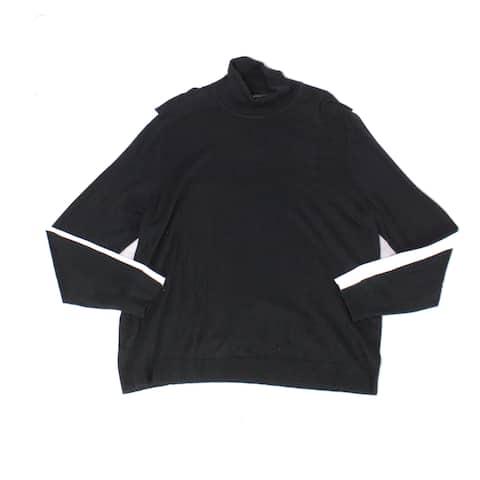 Alfani Mens Sweater Stripe Colorblock Knit Turtleneck