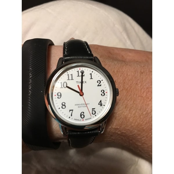 e217598731a93 Shop Timex Women s TW2R40200 Easy Reader 40th Anniversary Black White Leather  Strap Watch - Free Shipping Today - Overstock - 16767477