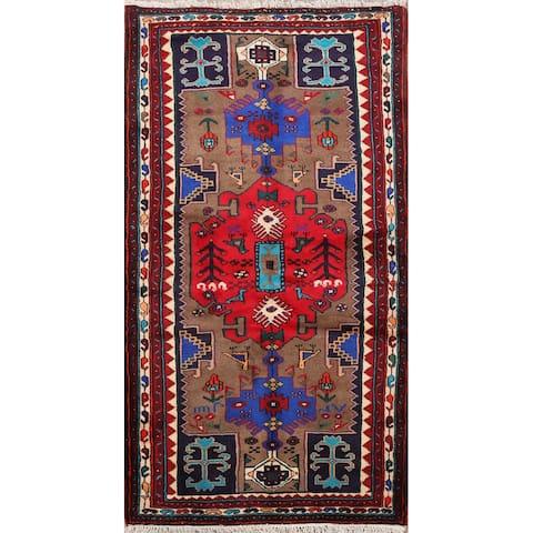"Brown Tribal Geometric Hamedan Persian Area Rug Wool Hand-Knotted - 3'3"" x 5'11"""