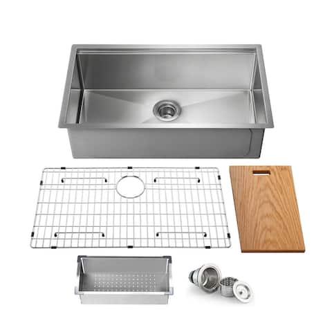 Handcrafted Single-bowl 16-gauge Stainless Steel Undermount Sink Set