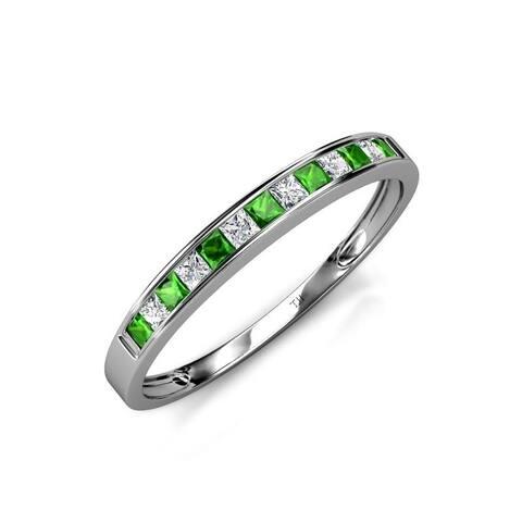 TriJewels Green Garnet Diamond 13 Stone Womens Wedding Band 14K Gold