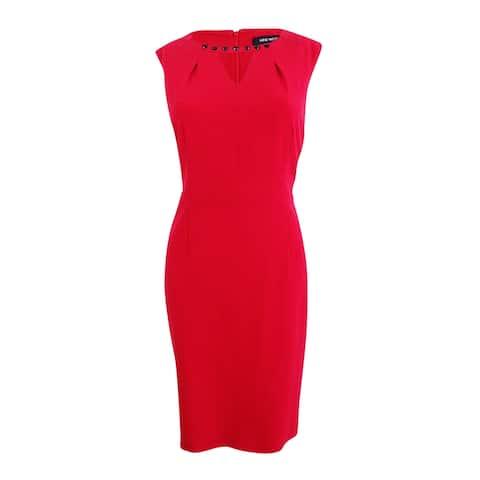 Nine West Women's Taylor Beaded-Trim Keyhole Sheath Dress