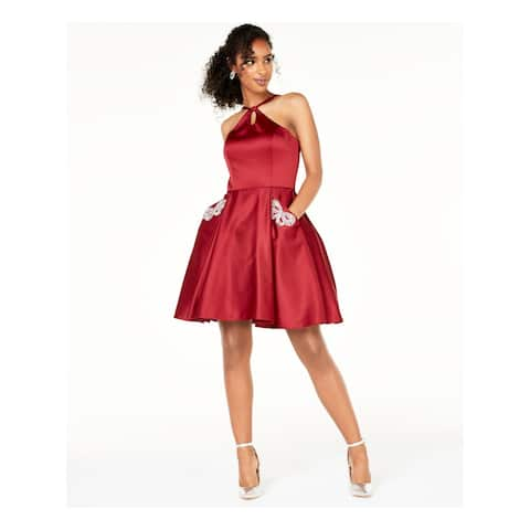 BLONDIE Burgundy Sleeveless Short Fit + Flare Dress Size 5