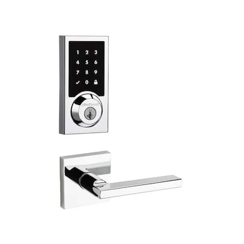 Kwikset 915CNT-HFLSQT-S SmartCode Touchscreen Electronic Deadbolt with Halifax Lever and Square Rosette -
