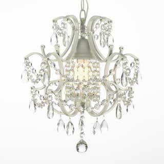 Mini chandeliers for less overstock wrought iron and crystal white chandelier pendant aloadofball Image collections