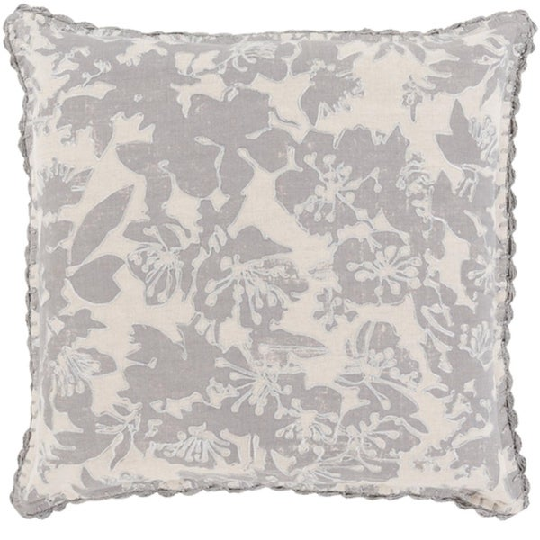 "22"" Thunder Cloud and Dove Gray Floral Woven Decorative Throw Pillow"