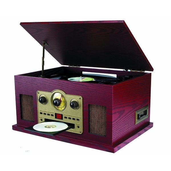 Sylvania SRCD838 5-In-1 Nostalgic Turntable with CD, Casette, Radio Manufacturer Refurbished