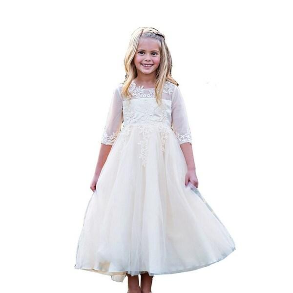 5b8324addff Little Girls Ivory Embroidered Ankle-Length Gwendolyn Flower Girl Dress