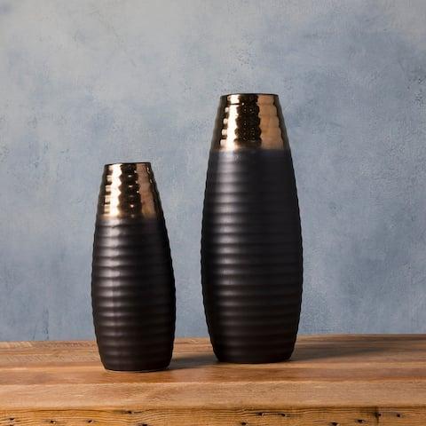 Temujin Gold Ceramic Modern Decorative Vase (Set of 2)
