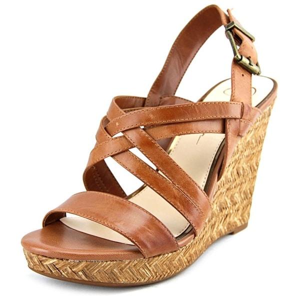 Jessica Simpson Julita Women Open Toe Leather Brown Wedge Sandal