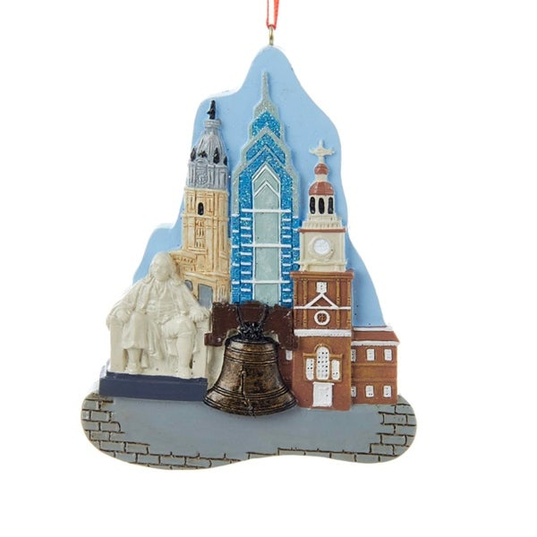 "4.25"" Decorative Multi-Color City of Philadelphia Landmark Christmas Ornament"