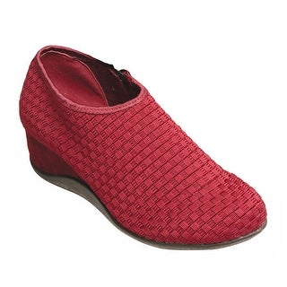 Women's Wedges - Woven Elastic Stretch Shoes With Suede Heel