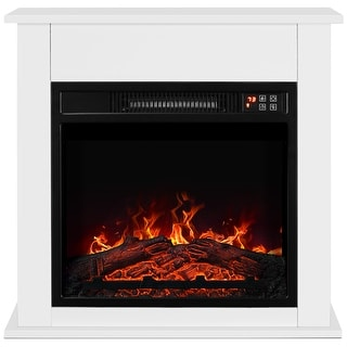 "BELLEZE 25"" Delux 1400W Electric Fireplace Mantel Heater Insert Freestanding Portable Stove with Remote Control, White"