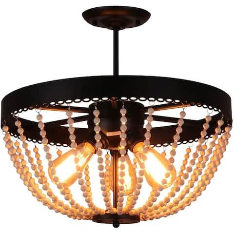 3 light rustic black metal semi flush mount ceiling light wood bead ceiling lighting fixture