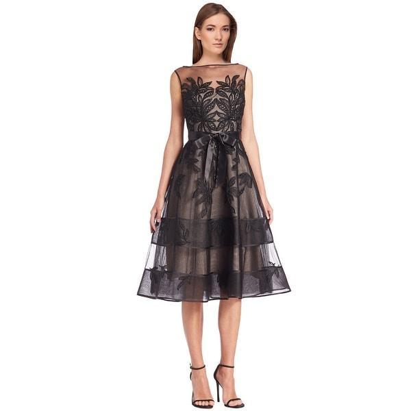 Shop Teri Jon Lace Illusion Beaded Applique Cocktail Evening Dress