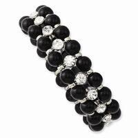 Silvertone Black Beads & Clear Glass Stones Stretch Bracelet