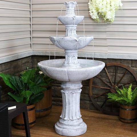 Grecian Column-Inspired 3-Tier Outdoor Water Fountain - 60-Inch