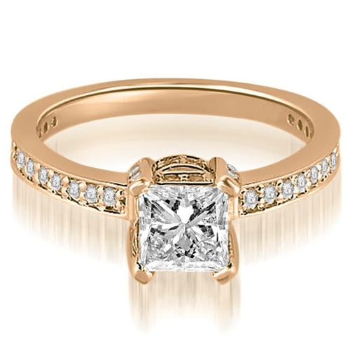 0.90 cttw. 14K Rose Gold Princess And Round Cut Diamond Engagement Ring