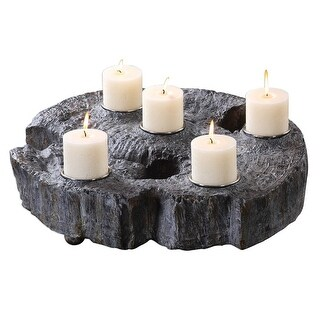 Slice of Tree Trunk Candleholder 6 - Silver