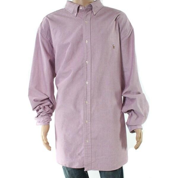 f75f5893 Polo Ralph Lauren Mens Red Size 2XLT Button Down Long-Sleeve Shirt