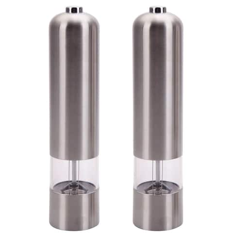 Silvertone Stainless Steel Electric Automatic Pepper Mill and Salt Grinder