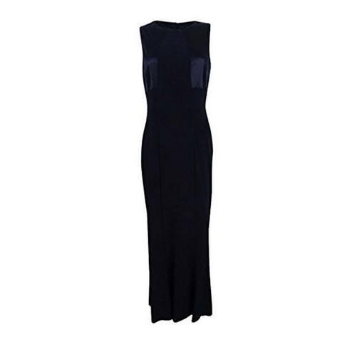 Lauren Ralph Lauren Womens Masira Mixed Media Cut-Out Evening Dress Black 14