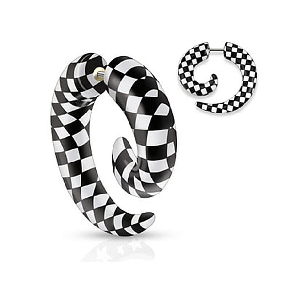 Checkers Printed All Acrylic Spiral Fake Taper (Sold Individually)