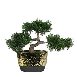 """10"""" Decorative Artificial Japanese Bonsai Tree in Oval Gold Plated Ceramic Pot"""