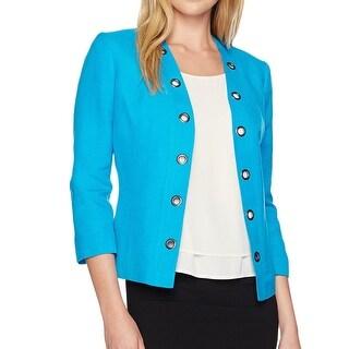 Kasper Blue Grotto Women's Size 4 Frommmet Trim Open Front Jacket