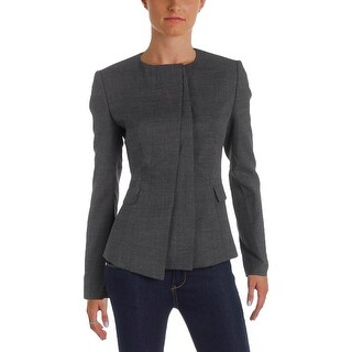 BOSS Hugo Boss Womens Jadela Collarless Blazer Wool Long Sleeves
