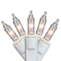100ct Clear Perm-O-Snap Mini Christmas Light Set For Curtain - White Wire