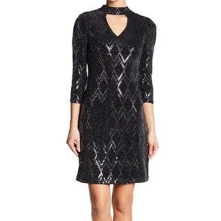 Eliza J Womens Sequined Cutout Front Sheath Dress