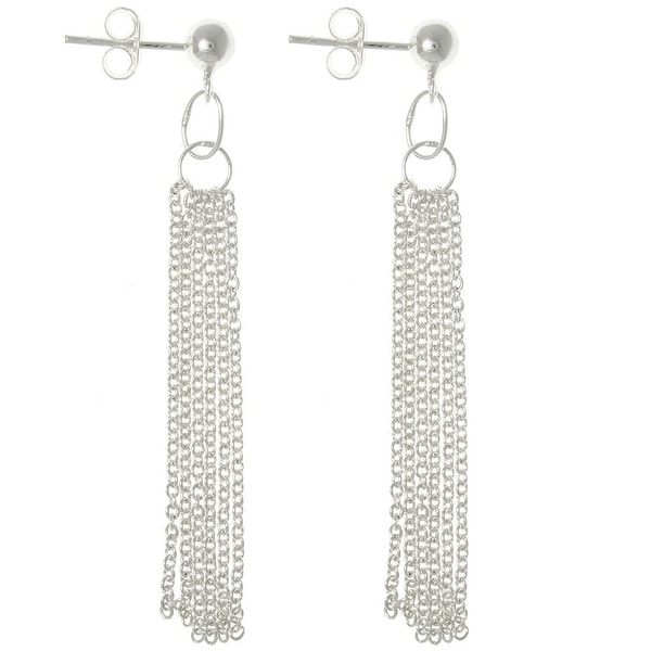 Sterling Silver Multi-chain Dangle Earrings. Opens flyout.