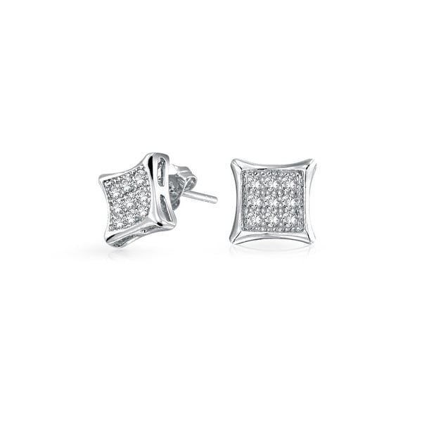 0e2d00da2f7 Square Shaped Cubic Zirconia Micro Pave CZ Kite Stud Earrings For Men 925  Sterling Silver 11MM