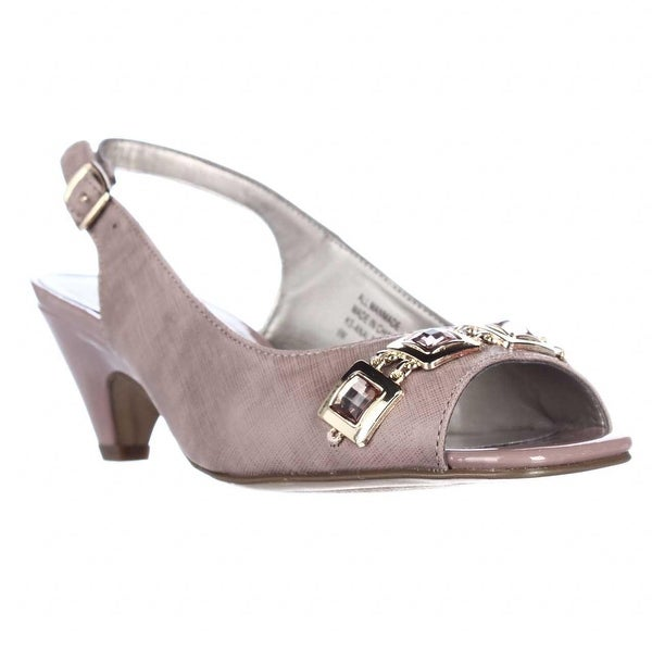 KS35 Analese Gem Toe Kitten Heel Slingback Pumps, Mauve