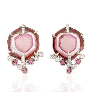 18kt Gold Diamond Designer Stud Earrings Tourmaline Tourmaline Melon Gemstone Jewelry