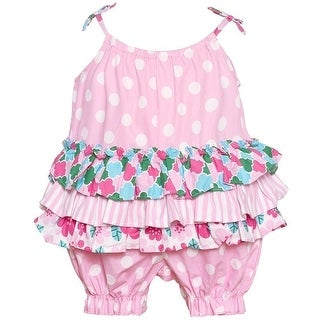 Bonnie Jean Baby Girls Pink Stripe Floral Polka Dot Print Ruffle Romper (2 options available)