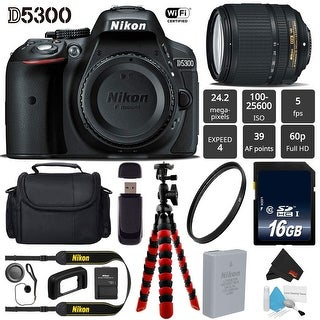 Nikon D5300 DSLR Wi-FI GPS 24.2MP DX CMOS Camera with AF-S 18-140mm VR Lens + Camera Case - Bundle (Intl Model)