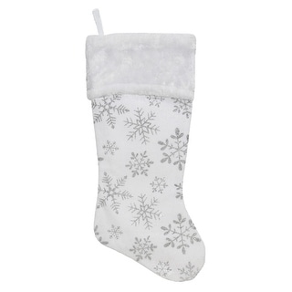 "Link to 20"" White and Silver Snowflakes Christmas Stocking Similar Items in Christmas Decorations"