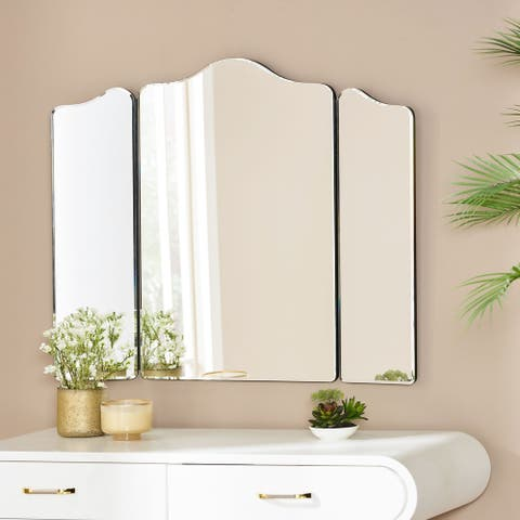 """Peeler Modern Glam Foldable 3-Panel Vanity Mirror by Christopher Knight Home - 25.50"""" H x 29.50"""" W x 0.60"""" D"""