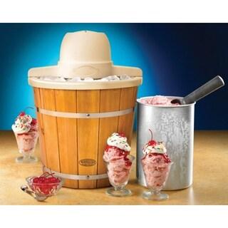 Nostalgia Electrics Icmp400wd Old Fashioned Ice Cream Maker, 4-Quart, Brown