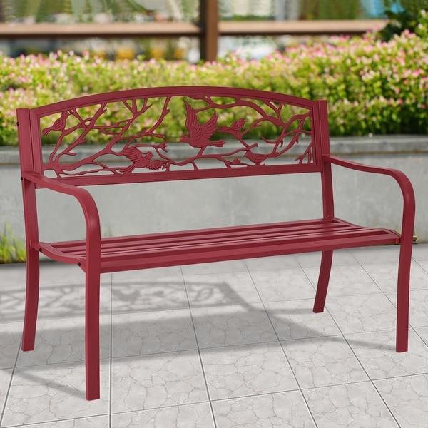 Costway Patio Garden Bench Park Yard Outdoor Furniture Cast Iron Porch Chair Red